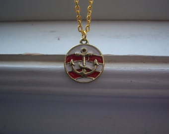 Anchor Necklace- Nautical Necklace  - Red And White Necklace -Free Gift With Purchase