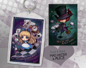 Alice and Mad Hatter Keychain Double-Sided