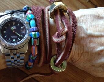 Unisex Leather Hardware Wrap Bracelet