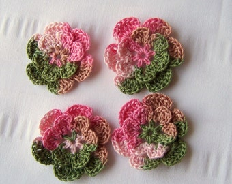 Crochet motif set of 4 flowers 1.5 inch pink camo