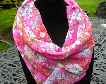 Infinity Scarf, Circle Scarf, Silky Infinity Scarf, Springy Scarf in Pink Floral Pattern