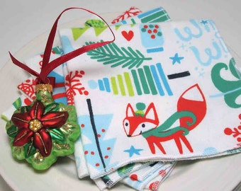 Cloth Dinner Napkins - Little Red Fox and Cardinal Holiday Flannel Napkins- Reusable - Set of four - 10 inch Flannel