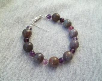 Fancy Jasper and Fluorite 925 Silver Bracelet, Gemstone Bracelet, Natural Gemstone Bracelet