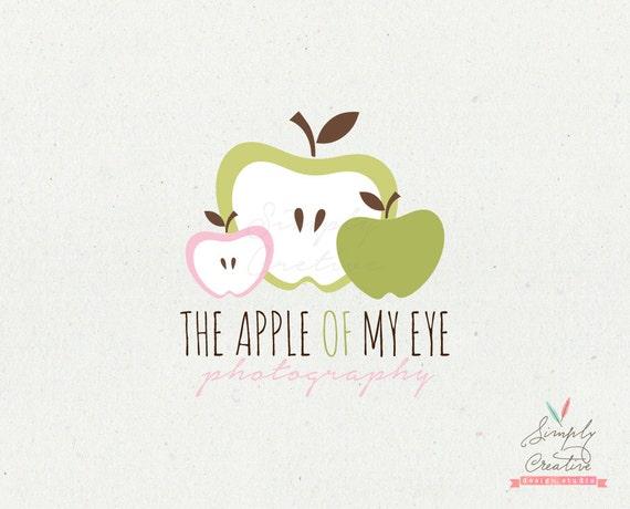 "Logo Design - Professional Modern Premade Logo - Green Pink Apple Logo - Photography Logo - Premade Logo ""The Apple of My Eye Design"""