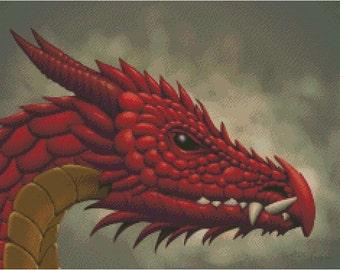 Red Dragon Cross Stitch Pattern
