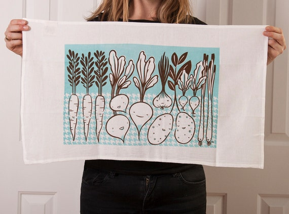 Flour sack tea towel with root vegetable screen print