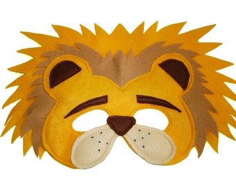 Children's Safari Animal LION Felt Mask