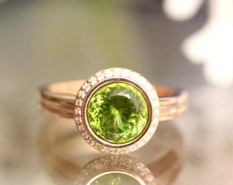 Peridot 14K Rose Gold Ring, Peridot And Diamond Ring, Engagement Ring, Gemstone Ring, Stacking Ring, Anniversary Ring - Made To Order