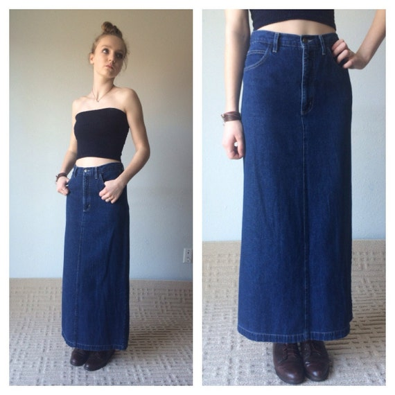 90s Maxi Skirt Denim Maxi Skirt Ankle Length Jean Skirt