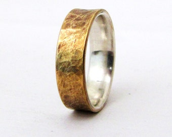 Brass Distressed Ring Silver Liner Rustic Wedding Band Mens Rugged Unique Wedding Rings Rustic Wedding Bands Gift for Him- Relic Artifact