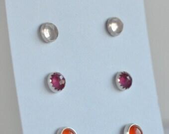 sterling silver stud earrings pink and orange trio three pairs