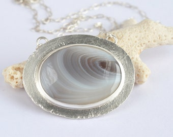 botswana agate oval recycled sterling silver necklace