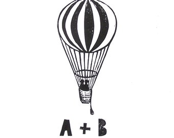 CUSTOM LINOCUT PRINT - Hot air balloon w/ initials wedding monogram linocut print 12x16