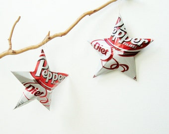 Diet Dr. Pepper Recycled Soda Can Aluminum Stars - Set of 2 Christmas Ornaments