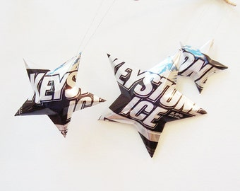 Keystone Ice Beer Stars, Recycled Upcycled Christmas ornments