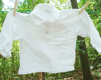 long sleeve Vintage shirt Plain White for Toddler , blank for dye, pfd, prepared for dye, polo shirt, vintage