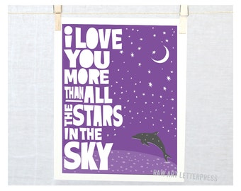 Wall Art I Love You More Than All the Stars in the Sky Nursery Art Moon Stars Valentine Gift Idea Dolphin Art Home décor ocean Wall Decor