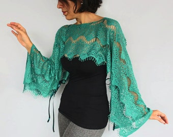 Jade Green Lace Tunic, Shrug Top Wear, Boho Lace Poncho, Capelet, Lightweight Lace Top