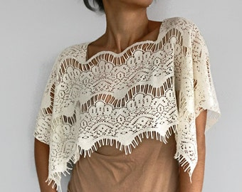 Cream Lace Shrug, Crop Lace Top Capelet, Shoulder Wrap, Evening Cover