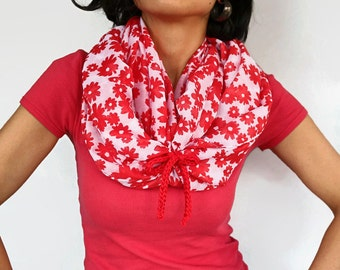 Red Floral Infinity Scarf, Soft Fine Circle Cowl, Chunky Summer Loop, Neck Warmer, Shawl, Handmade