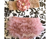 Baby Bloomer and Rolled Shabby Chic Headband Set- Ruffle Bum Baby Bloomer, Vintage Inspired, Vintage pink,newborn bloomer, photo prop