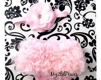 Baby Bloomer and Headband Set- Light Pink Bloomer. Diaper Cover. Newborn Bloomer. Birthday Bloomer. newborn ruffle bloomer. cake smash