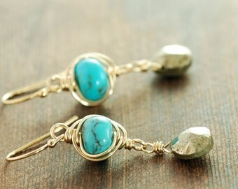 Turquoise Pyrite Gold Dangle Earrings, December Birthstone Earrings, Rustic Bohemian Jewelry