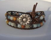 Amazonite Beaded Leather Wrap Bracelet with Daisy Button