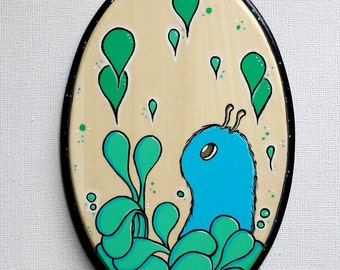 Fuzzy in his Forest. Original Acrylic Painting on Wood. Wall Hanging.