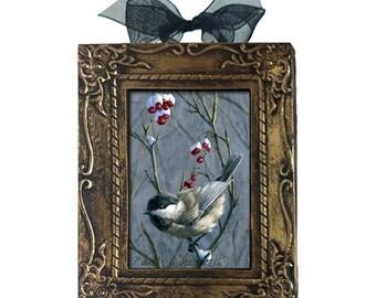 Chickadee Bird Ornament - Winter Harvest  II - Black Capped Chickadees - Framed Mini Art