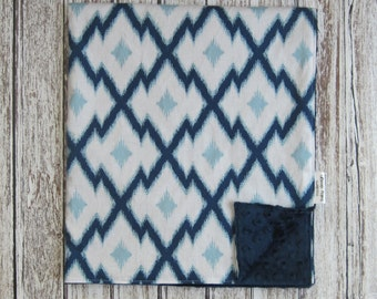 Navy Blue Ikat Baby Blanket with Navy Minky Back, Aztec Minky Baby Blanket, Blue Baby Blanket
