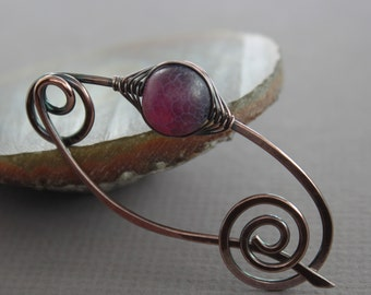 Shawl pin, scarf pin with frosted scale raspberry red agate stone and with a spiral closure - Agate pin - Stone pin - SP014