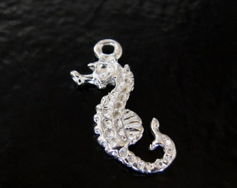 Sterling Silver Sea Horse Charm 14x24mm