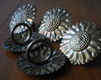 five hammered brass sunflower napkin rings - french country - cottage chic
