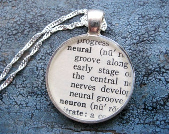 Silver Vintage Neural/Neuron Textbook Definition Glossary Pendant
