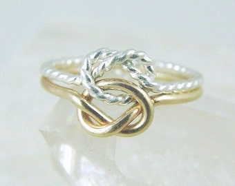 14k Solid Gold and Sterling Silver Love Knot Ring / Infinity Knot Ring / Promise Ring /  Best Friend Sisters Ring / Gold Celtic Knot Ring