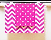 Teacher Gift - Valentine Decor - 2 Bright Tea Towels - Hostess Gift - Hot Pink Chevron Pattern - Kitchen Towels - Home Decor - Dish Towels