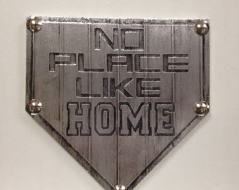 Buy one similar No Place Like Home Plate Baseball Custom Original Foil Metal Tape Art Faux Steel Ready To Hang Mancave