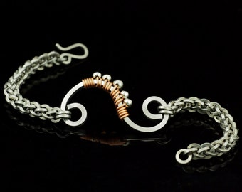 Square Jens Pind Chainmail Bracelet - Stainless Steel with Copper Accented Swirl Focal - Kit or Ready Made