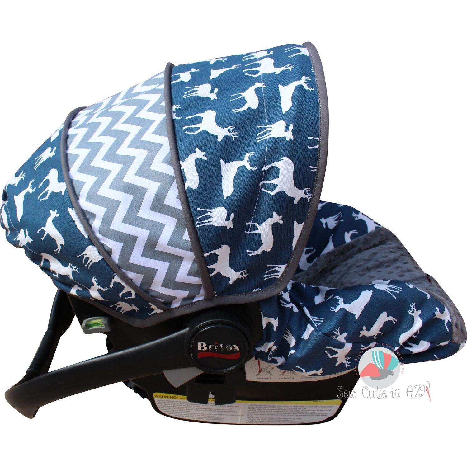Infant Car Seat Cover Navy Deer Silhouette