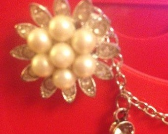 Pretty Pearl Flower Sweater Clip- Upcycled
