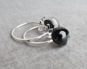 Black Glass Hoops, Caviar Black Earrings, Lampwork Earrings, Small Wire Hoops, Sterling Silver Hoop Earrings