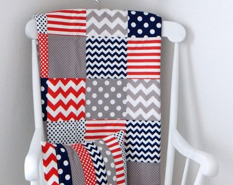Baby Blanket, Nursery Decor, Patchwork Quilt, Baby Quilt, Minky Baby Blanket, Baby Gift, Red, Gray, Grey, Navy Blue, Navy, White, Baby Boy