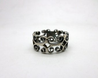 Vintage Mexican Band Ring Silver Tone Metal
