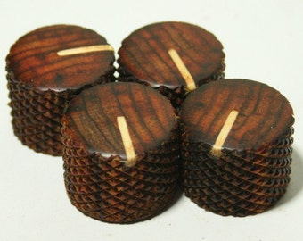 Set of 4 Cocobolo Guitar Knobs with Maple Line Indicator (7/8d x 11/16h)