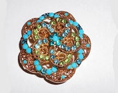 Vintage Pin Brooch  Turquoise Blue Milk Glass  Rhinestones  Green  Blue Crystals Goldtone FilligreeFlower  French Couture Style Mad Men