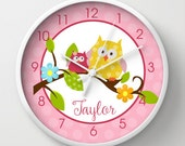 """Happy Owls in a Tree Pink and White 10"""" Girls NO TICK Nursery Clock, Choose frame color, hand color, personalization"""