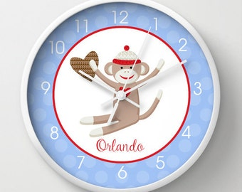 "Sock Monkey Nursery Toddler 10"" Wall Clock, Choose frame color, hands color, personalization"
