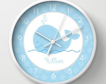 Little Blue Whale Nautical Nursery 10-inch Wall Clock Personalized with Name