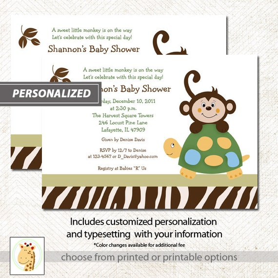 monkey and cute turtle boy baby shower invitations with jungle zebra